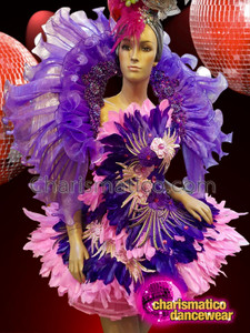 CHARISMATICO Purple ruffled and feathered backpack and floral dress