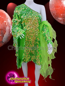 CHARISMATICO Lime green diva sequinned drag queen show girl dress