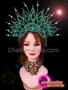 CHARISMATICO Emerald green diva beaded show girl drag queen headdress