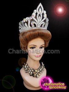 CHARISMATICO Silver crystallized sequinned diva queen show girl crown