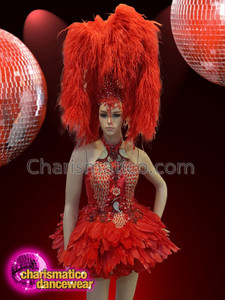 CHARISMATICO Red ostrich feather diva show girl silver headdress and costume set