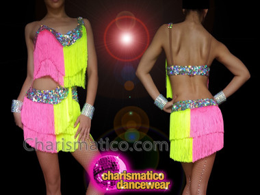 CHARISMATICO Latin pink and yellow silver sequinned fringe shorts and top