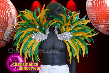 CHARISMATICO Green and yellow feather silver beaded samba show time collar