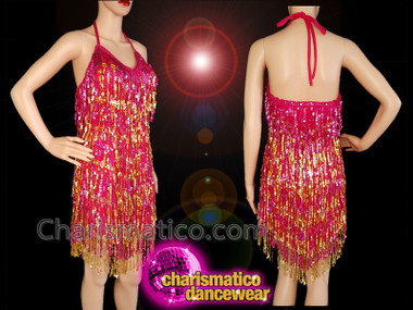 CHARISMATICO Fuchsia and gold sequinned fringe halter neck diva dress