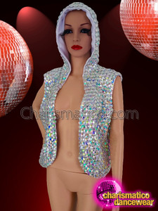 CHARISMATICO Silver coloured crystal studded Dancer hoodie jacket