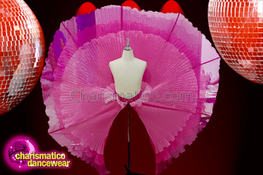 CHARISMATICO Front open shimmery pink pleated circular wheel skirt