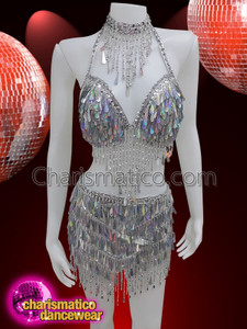 CHARISMATICO Silver teardrop sequinned bra and skirt showgirl costume set