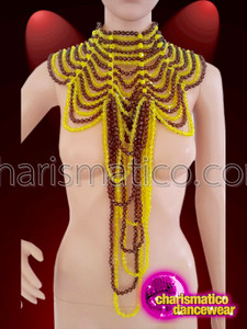 Charismatico  asymmetrical golden and brown faux beaded necklace with collar