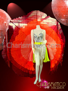 CHARISMATICO Five Layer Sheer yellow orange Flame Toned Pleated Organza Circular Showgirl Skirt