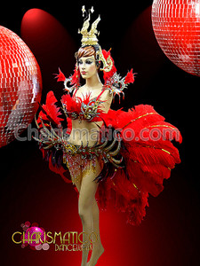 CHARISMATICO Red Ostrich Feather and Boa Embellished Phoenix Showgirl's Costume Set