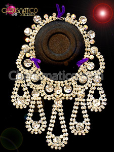 CHARISMATICO Iridescent Crystal Accented Silver Rhinestone Tear Drop Collar Style Necklace