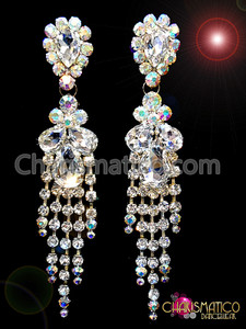 CHARISMATICO Lovely Iridescent DIVAS Crystal Silver Rhinestone Chandelier Style Stud Earrings