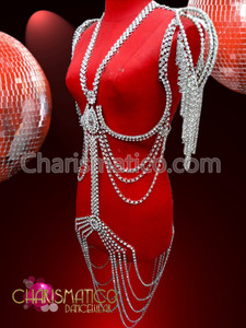 CHARISMATICO Rhinestone Chained Iridescent Crystal Accented Body Harness BRA with Shoulder Dangles
