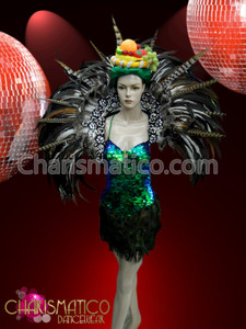 CHARISMATICO Classic Fruit Headpiece, Muted Natural Collar and Peacock Inspired showgirl Dress