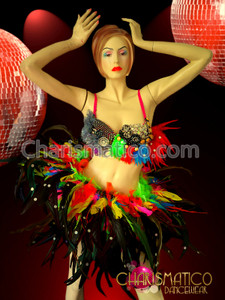 CHARISMATICO Multicolor Feather and Patchwork Bead Bra and Hoop Carnival Costume