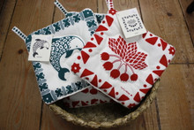 Green Dophin and Red 'Ohelo Pot Holders