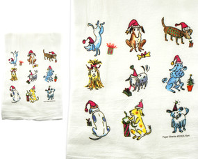 dog puppy winter christmas holiday flour sack towel kitchen gift for cook baker mom mothers day grandma