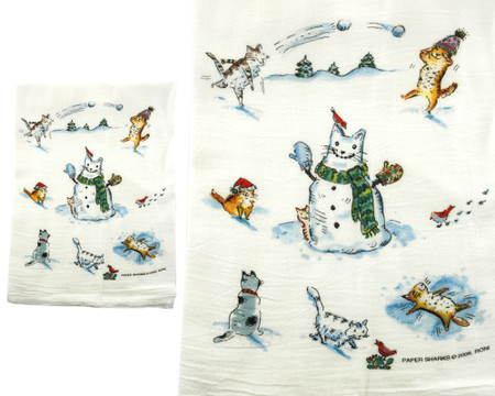 snow cats winter christmas holiday flour sack towel kitchen gift for cook baker mom mothers day grandma