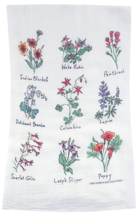 wildflowers flour sack towel kitchen gift for cook baker mom mothers day grandma
