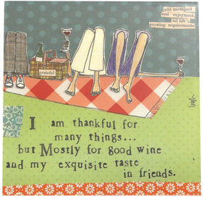 I am thankful for many things but mostly for good wine and my exquisite taste in friends novelty whimsical cocktail drink party napkins curly girl design