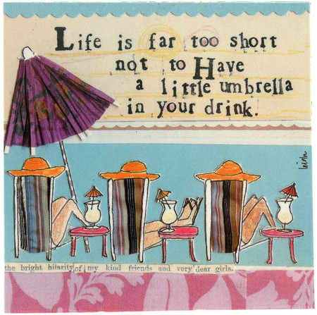 life is far too short not to have a little umbrella in your drink whimsical bar drink napkin curly girl design tropical