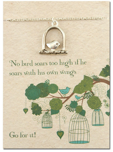 soaring bird inspirational silver plated necklace pendant gift for teen tween friend graduation young woman No bird soars too high if he soars with with his own wings