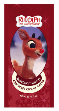 rudolph red nosed reindeer christmas theme novelty hot chocolate drink mix packet stocking stuffer fir kids