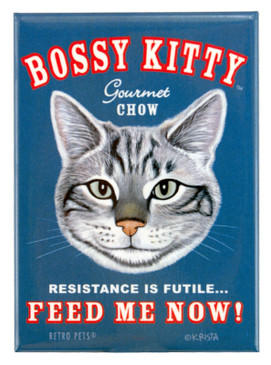 bossy kitty retro pet magnet fridge refrigerator funny cute humorous gift for cat owner lover feed me now
