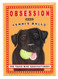 black lab retro pet magnet fridge refrigerator funny cute humorous gift for dog owner tennis ball obsession