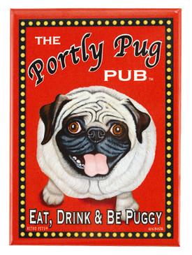 portly pug retro pet magnet