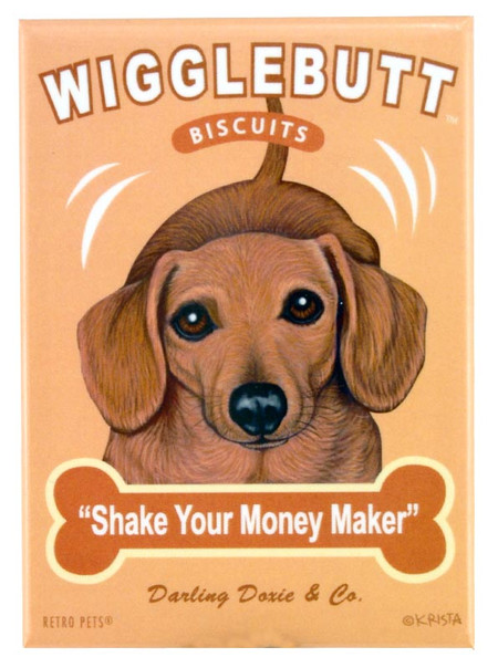 dachshund wigglebutt retro pet magnet fridge refrigerator funny cute humorous gift for dog owner shake your money maker doxie