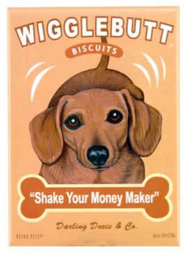 dachshund wigglebutt retro pet magnet