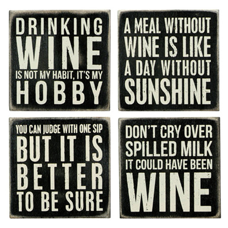 wine coaster set rustic wooden gift hostess wine lover mom girlfriend wife mothers day
