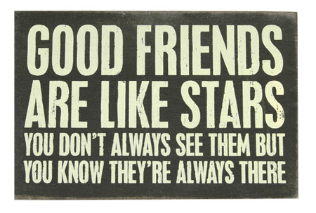 Good friends are like stars. You don't always see them but you know they're always there vintage wooden postcard gift for girlfriend
