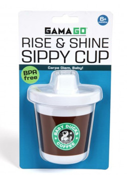 rise and shine sippy cup coffee starbucks cute whimsical humorous funny baby shower gift for new mom parents