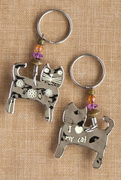 i love heart my cat cute keychain key ring gift for cat lover owner mom girlfriend grandma whimsical