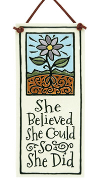 she believed she could so she did inspirational ceramic wall tile handmade spooner creek made in usa gift for young woman new job graduation sister girlfriend