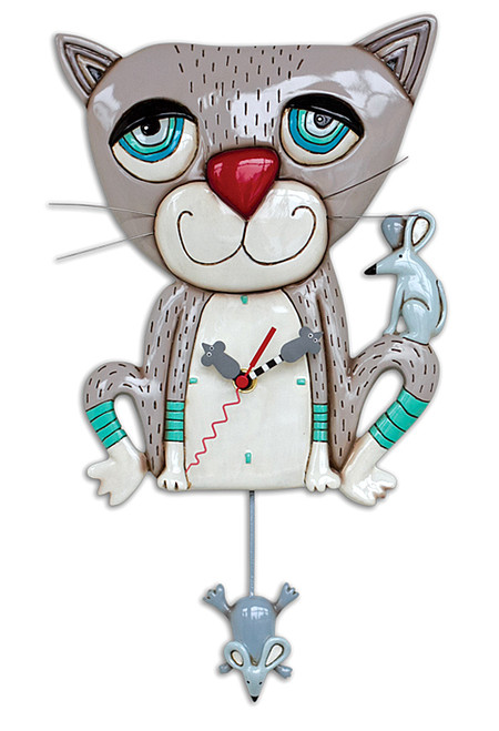 grey gray cat mouse mouse whimsical resin wall clock unique gift for cat owner lover mom grandmother friend