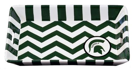 michigan state mi green spartan white chevron ceramic trinket tray dresser gift for graduation fan alumni