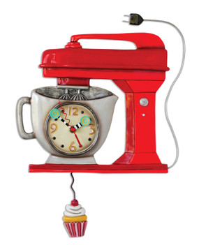 vintage retro kitchen mixer red whimsical wall clock pendulum mothers day gift mom grandma grandmother aunt unique housewarming gift