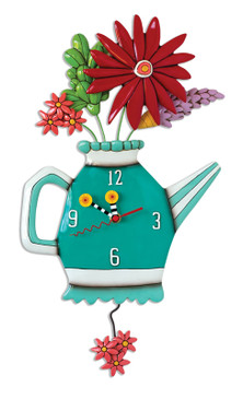 cute spring bouquet flower teapot whimsical resin pendulum clock teal green blue gift for mom mother cute housewarming hostess gift