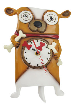 roofus brown white dog bone pendulum wall clock resin cute gift for dog lover owner michelle allen designs