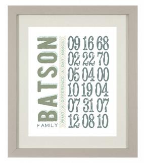 custom family date print