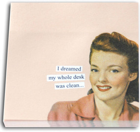 i dreamed my whole desk was clean funny humorous hilarious retro vintage art sticky notes post it pad cute gift for co worker home office
