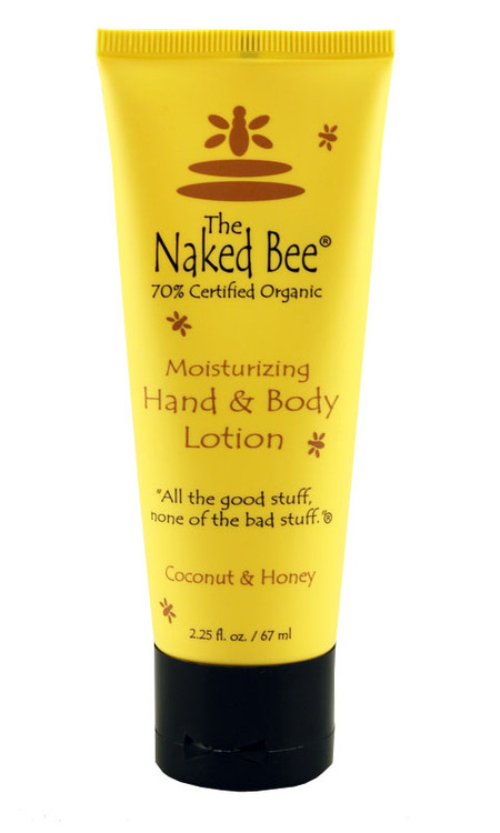 naked bee coconut moisturizing body hand lotion honey organic made in usa aloe green white tea 2 oz ounces stocking stuffer for girl gift for mom grandma sister girlfriend wife bath body dye free tropical scent travel purse size