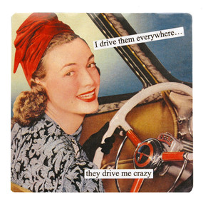 i drive them everywhere they drive me crazy she could see no good reason to act her age funny humorous hilarious retro vintage art refrigerator fridge magnet gift for girlfriend mom anne taintor