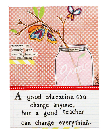 A good education can change anyone but a good teacher can change everything curly girl designs whimsical refrigerator fridge magnet gift teacher graduation