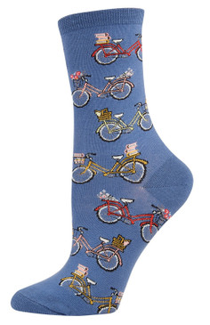 cute vintage bike bicycle socks for women girls friend blue cotton crew
