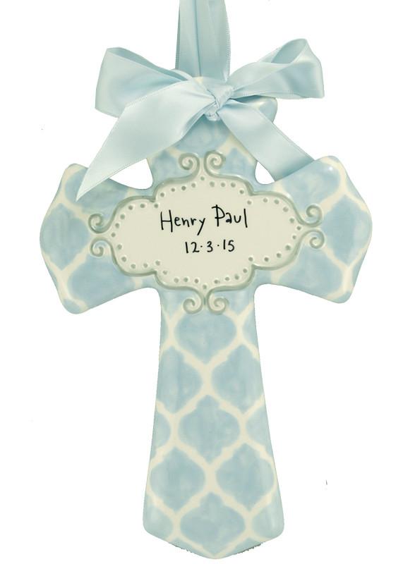 Personalized Blue Quatrefoil Ceramic Cross Unique Baby