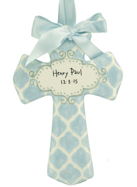 customized personalized ceramic  cross blue quatrefoil nursery accent decor baby boy shower gift religious